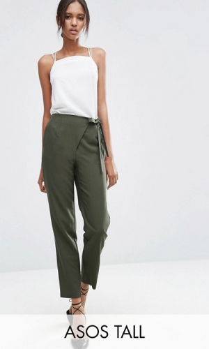 ASOS TALL Woven Peg Trousers With Wrap Tie