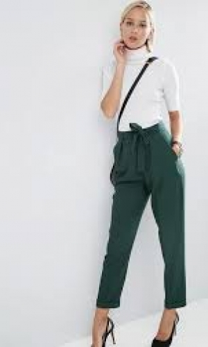ASOS Woven Peg Trousers With OBI Tie Forest Green