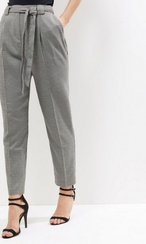 New Look Black Dogtooth Tie Waist Trousers