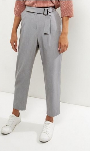 New Look Grey Square Buckle Slim Leg Trousers