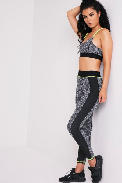 Pretty Little Thing ELIZA NEON YELLOW MARL PANELLED GYM LEGGINGS