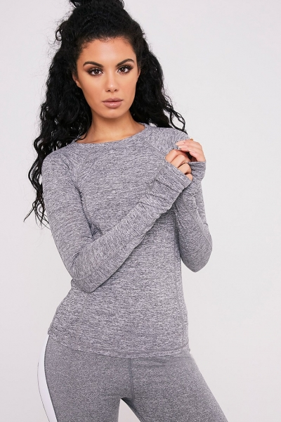 Pretty Little Thing SANIA GREY LONG SLEEVE GYM TOP