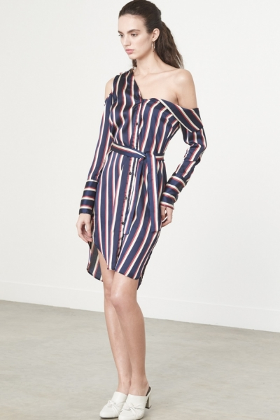 Lavish Alice Asymmetric Shirt Dress In Varsity Stripe Satin