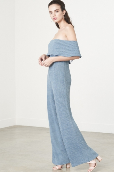Lavish Alice Bandeau Jumpsuit In Dusty Blue Knit