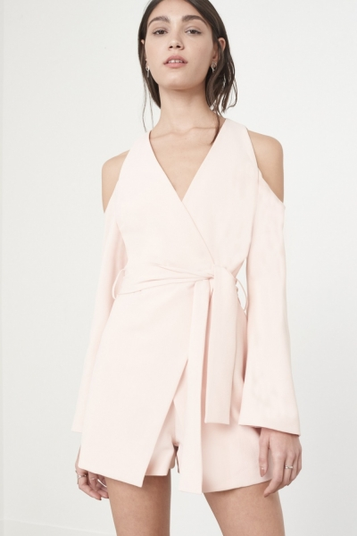 Lavish Alice Bell Sleeve Playsuit In Soft Pink