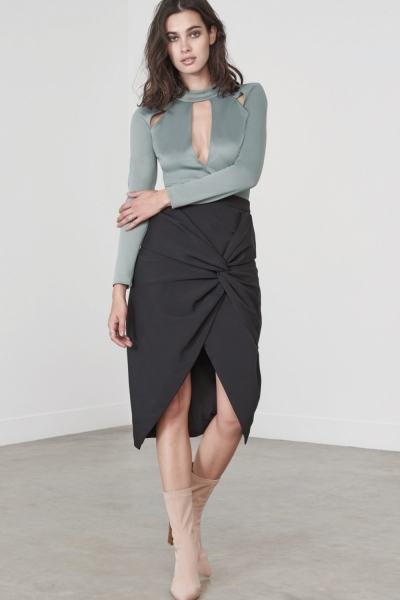Lavish Alice Black Twist Front Midi Skirt