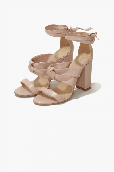 Lavish Alice Blush Leather Lace Up Knot Detail High Heel Sandals