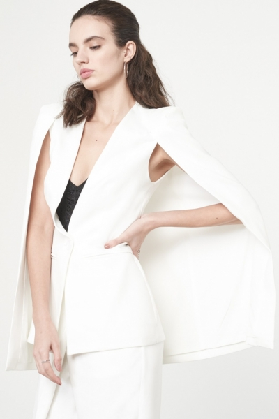 Lavish Alice Caped Blazer In White