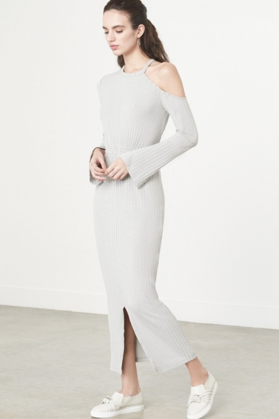 Lavish Alice Cutaway Asymmetric Dress In Grey Knit