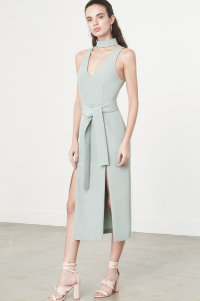 Lavish Alice Double Split Graphic Dress In Sage