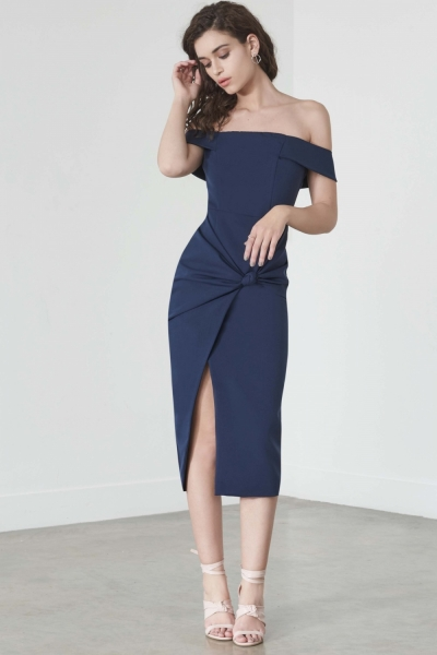 Lavish Alice Knot Front Bardot Dress In Navy
