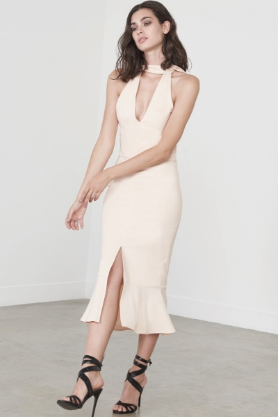Lavish Alice Light Nude Choker Detail Flounce Hem Midi Dress