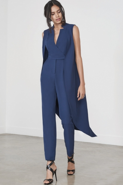 Lavish Alice Navy Waistcoat Tailored Jumpsuit