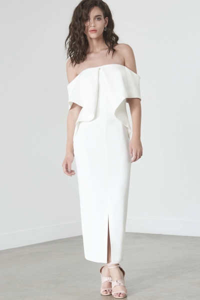 Lavish Alice Off White Ribbed Fold Bandeau Midi Dress