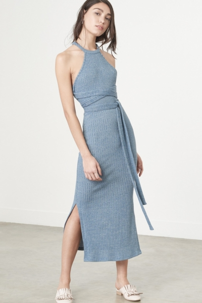 Lavish Alice Racer Cut Dress In Dusty Blue Knit