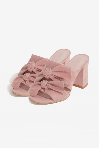 Lavish Alice Rose Suede Double Tie Mules