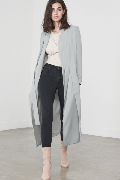 Lavish Alice Sage Green Double Layer Tie Front Duster Jacket
