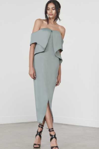 Lavish Alice Sage Green Ribbed Fold Bandeau Midi Dress