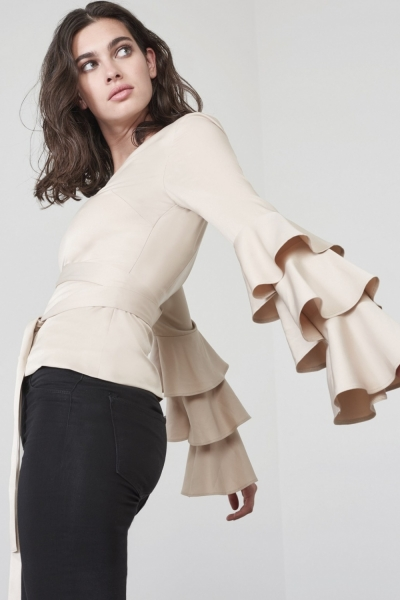 Lavish Alice Sand Asymmetric Shoulder Tie Belt Frill Sleeve To