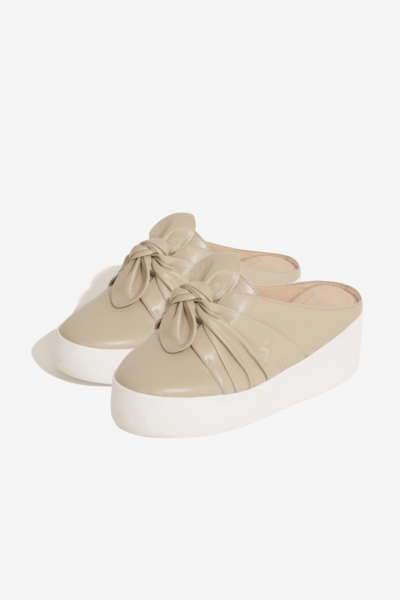 Lavish Alice Sand Leather Twist Backless Trainers