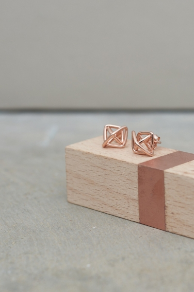 Lavish Alice Sterling Silver Rose Gold Plated Knot Stud Earrings