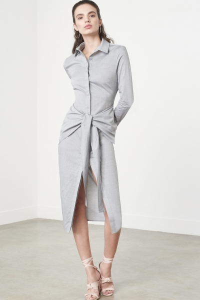 Lavish Alice Tie Front Shirt Dress In Grey Cotton
