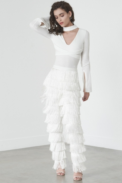 Lavish Alice White Fringed Tapered Leg Trousers