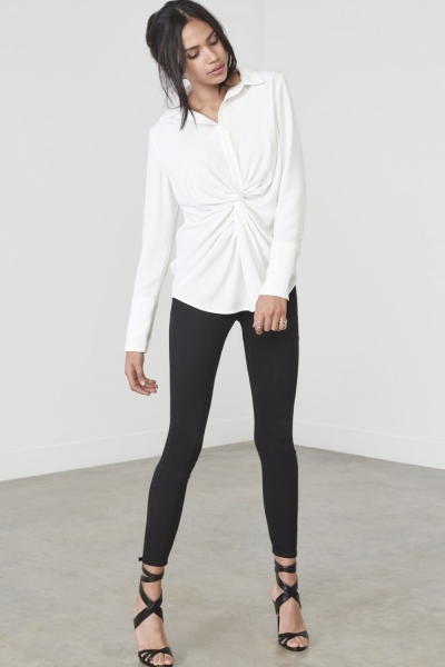Lavish Alice White Twist Front Shirt