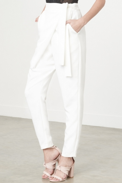 Lavish Alice Wrap Front Crop Trousers In White