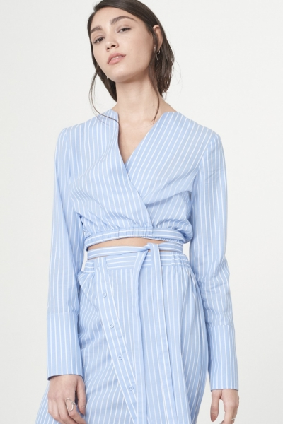Lavish Alice Wrap Over Artist Shirt In Blue White Pinstripe Cotton