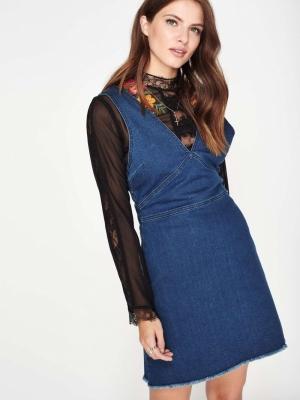 Miss Selfridge Dark Wash Denim Pinafore Dress