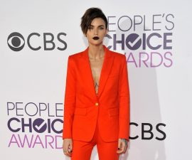Ruby Rose looks sleek in the masculine tailoring look at the People's Choice Awards TheFuss.co.uk