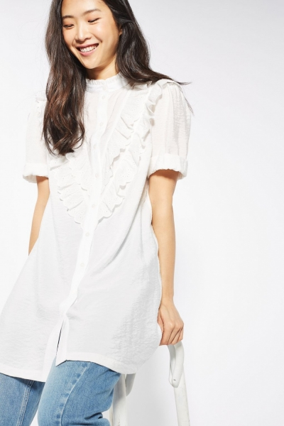 Topshop Bib Frill Shirt Dress