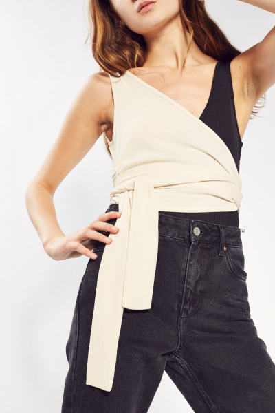 Topshop Colour Block Wrap Body