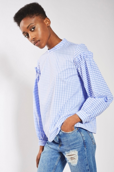 Topshop Gingham Mutton Sleeve Blouse