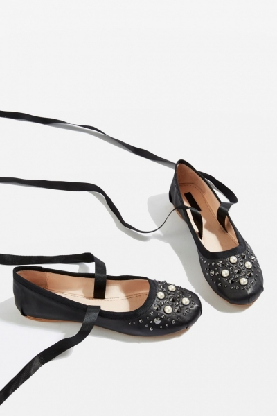 Topshop KISSES Pearl Ballet Shoes