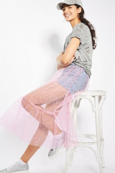 Topshop MOTO Tulle Pink Skirt