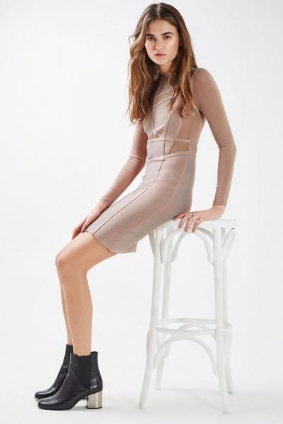 Topshop Panel Mesh Mini Dress
