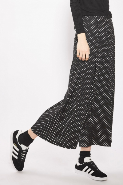 Topshop Pinspot Cropped Wide Leg Trousers