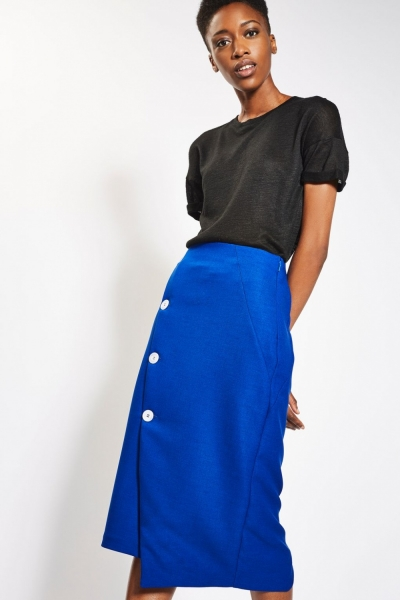 Topshop Statement Button Midi Skirt