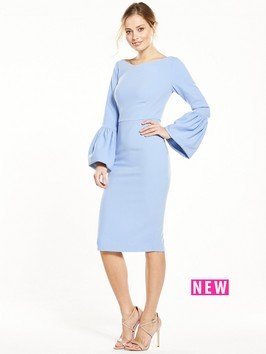 V By Very Volume Sleeve Bodycon Dress