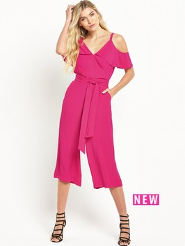 Warehouse Crepe Cold Shoulder Jumpsuit