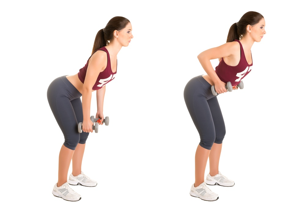 It's vital to keep your back straight as you do the bent over dumbbell row TheFuss.co.uk