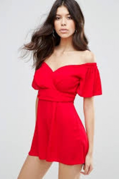 ASOS Woven Waisted Bardot Playsuit With Flutter Sleeve