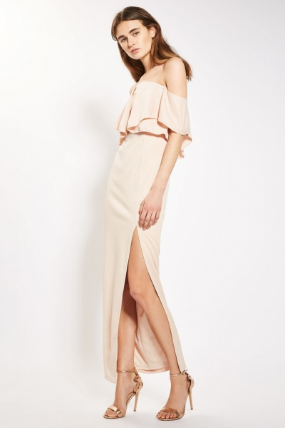 Bardot Frill Top Maxi Dress By Rare