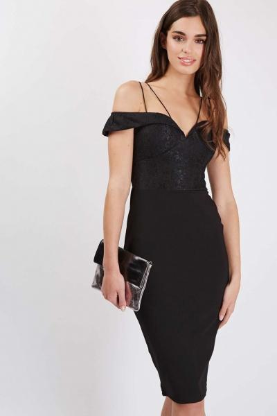 Cord Strap Bardot Midi Dress By Rare