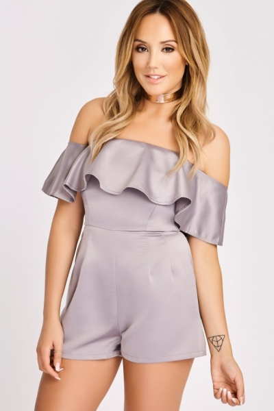 In The Style CHARLOTTE CROSBY DARK SILVER OFF THE SHOULDER FRILL PLAYSUIT