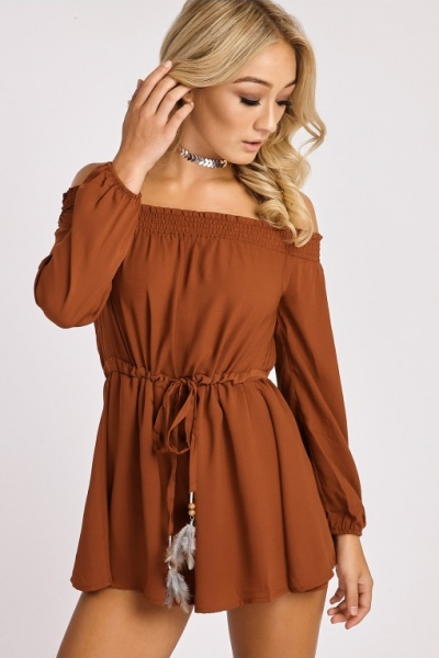 In The Style CANDRA RUST FEATHER TIE BARDOT PLAYSUIT