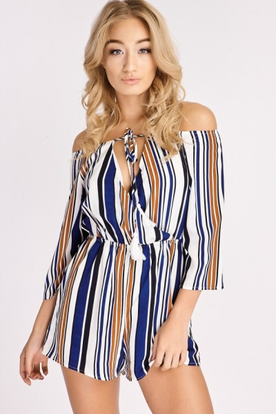 In The Style SLOANE WHITE NAVY STRIPED TIE FRONT BARDOT PLAYSUIT