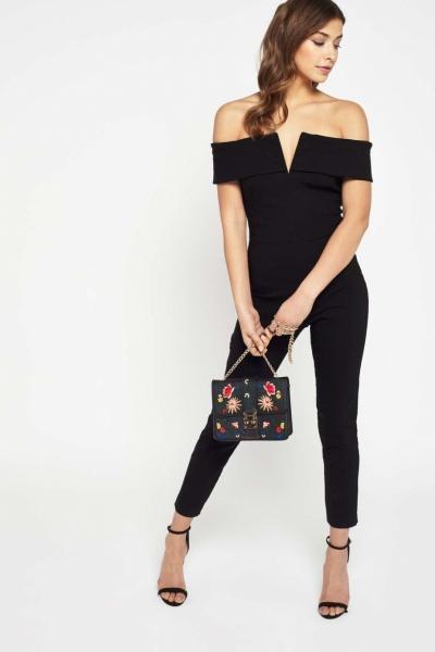 Miss Selfridge Black Bardot Jumpsuit